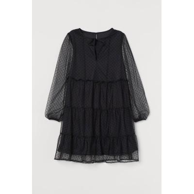 H&M - シフォンショートワンピース - ブラック