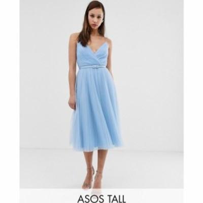 エイソス ASOS Tall レディース ワンピース キャミワンピ ワンピース・ドレス Asos Design Tall Belted Pleated Tulle Cami Midi Dress