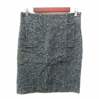 【中古】ユナイテッドバンブー UNITED BAMBOO タイトスカート ひざ丈 ツイード ウール 2 グレー /YI レディース