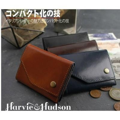 Harvie and Hudson キャピタルレザー 三つ折コンパクト財布 イタリアンレザー