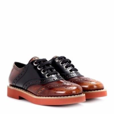ミュウミュウ Miu Miu レディース ローファー・オックスフォード シューズ・靴 Leather Oxford shoes Tabacco/Nero