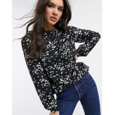 ウェアハウス Warehouse レディース ブラウス・シャツ トップス floral print high neck blouse in black マルチカラー