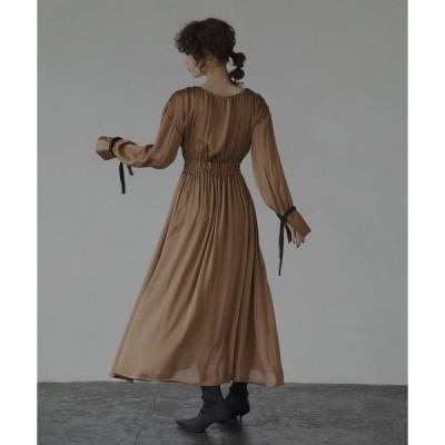 ドレス リボンスリーブギャザーワンピース/ドレス