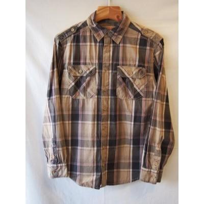 マッシモMOSSIMO/ブラウンチェックコットンミリタリーシャツ/XSサイズ相当/送料無料