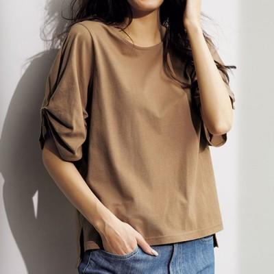 ベルーナ 【汗対策】綿100%袖タックTシャツ ライトグレー 3L レディース
