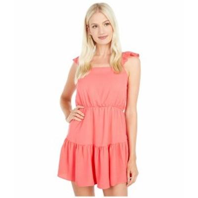 アメリカンローズ レディース ワンピース トップス Serena Ruffle Dress with Shoulder Ties Coral