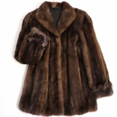 極美品▼アメリカンウルトラ ファーアワード3つ星 MINK ミンク 本毛皮コート ダークブラウン 毛質艶やか・柔らか◎