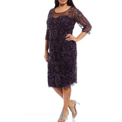 ピサッロナイツ レディース ワンピース トップス Plus Size Illusion Neck Beaded 3/4 Sleeve Midi Sheath Dress Plum