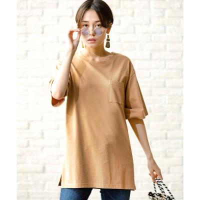 ジーラ GeeRA 綿100%バックプリントTシャツ (ベージュ)