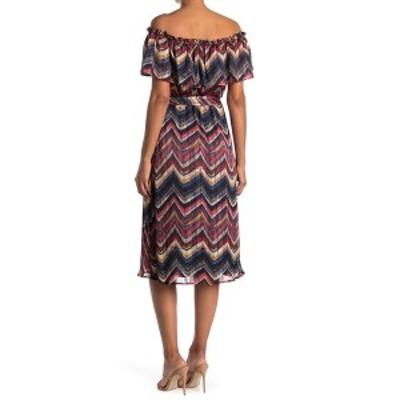 コレクティブコンセプツ レディース ワンピース トップス Front Ruffle Geometric Print Woven Dress BLK/RED MULTI