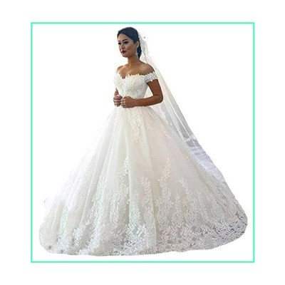 Fanciest Women's Lace Wedding Dresses for Bride 2020 Ball Gowns Ivory Style 1 US24W並行輸入品