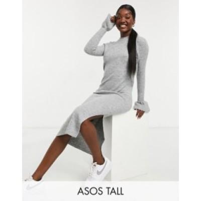 エイソス レディース ワンピース トップス ASOS DESIGN Tall knit dress with bell sleeve detail in heather gray Gray heather