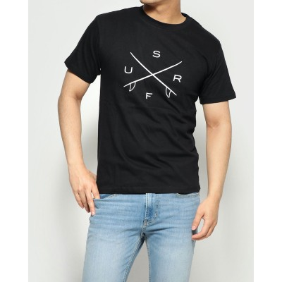 スタイルブロック STYLEBLOCK サーフロゴプリントクルーネック半袖Tシャツ (SURFブラック)