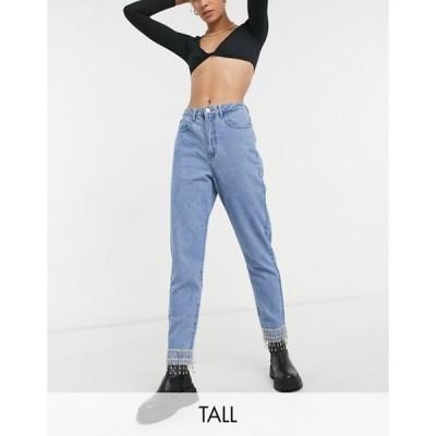ミスガイデッド レディース デニムパンツ ボトムス Missguided Tall embellished riot mom jeans in blue