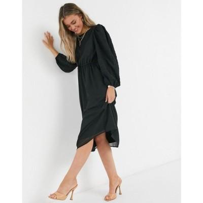 ワイ エー エス Y.A.S レディース ワンピース ミドル丈 ワンピース・ドレス .. Olivia ruched waist midi dress in black ブラック