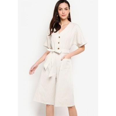 ザローラ Zalora Basics レディース オールインワン ジャンプスーツ ワンピース・ドレス Button Front Self Tie Jumpsuit Stone/White Stripes
