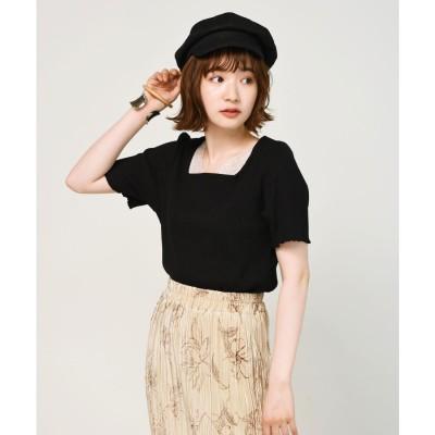 レトロガール RETRO GIRL 2WAYテレコ半袖Tee (ブラック)