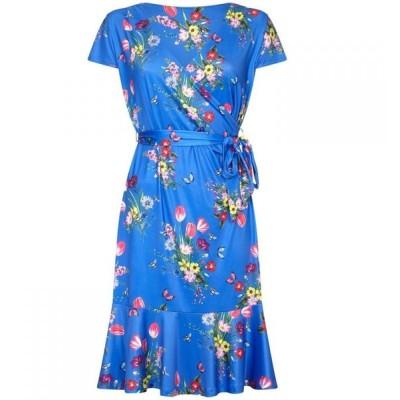 ユミ Yumi Curves レディース パーティードレス 大きいサイズ ワンピース・ドレス bouquet print plus size slinky jersey dress Blue