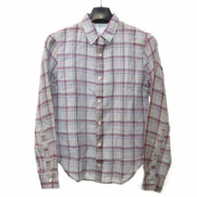 【中古】ストーンアイランド STONE ISLAND チェック ネルシャツ 長袖 コットン100% Sサイズ ライトグレー レッド