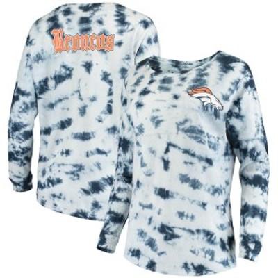 ニューエラ レディース Tシャツ トップス Denver Broncos New Era Women's Tie-Dye Long Sleeve T-Shirt Navy
