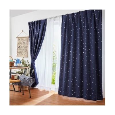 星柄箔プリント1級遮光カーテン&レースカーテンセット カーテン&レースセット, Curtains, sheer curtains, net curtains(ニッセン、nissen)