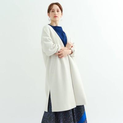 インディヴィ INDIVI 【ハンドウォッシュ】ライトダンボールジャージコート (アイボリー)