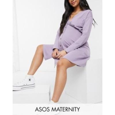 エイソス レディース ワンピース トップス ASOS DESIGN Maternity tea dress with long sleeves and horn buttons in purple ash Purple