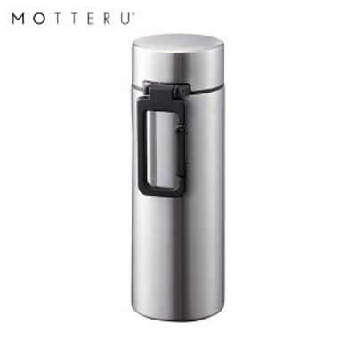 全品P5~10倍 MOTTERU カラビナハンドルサーモステンレスボトル 250ml MO-3004-005 シルバー ゴーウェル 水筒 保冷 保温 2層構造 直飲み