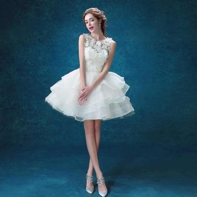 オフショルダー ウエディングドレス 二次会 前撮り 撮影用 写真 ミニドレス 花嫁 結婚式 お姫様 着痩せブライダル 白 p7