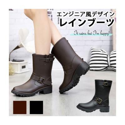 Classical Elf 長靴に見えない★厚底エンジニアレインブーツ ブラック 24.0cm レディース
