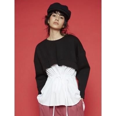tシャツ Tシャツ 【Arumlily】シャツコンビポンチプルオーバー