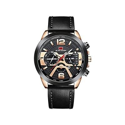 Luxury Mens Watch Japan Quartz Leather Strap Fashion Casual Business Date A[並行輸入品]
