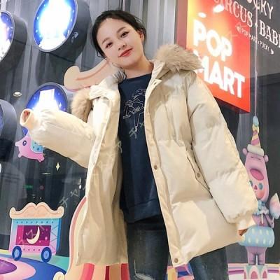 レディース ダウンジャケット おしゃれ 暖かい 冬 コート フード付き 女 厚手 防風 防寒 ふわふわジャケット ジップアップ ポケット付き ファッションコート