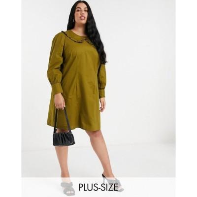 ヴェロモーダ ドレス 大きいサイズ レディース Vero Moda Curve smock dress with oversized collar in khaki エイソス ASOS グリーン 緑