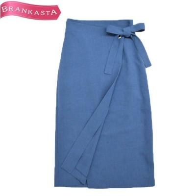 Hampstead ハムステッド ラップ風デザイン ロングナロースカート 38 ペールブルー スカート\特大セール 最大90%OFF/22ky08