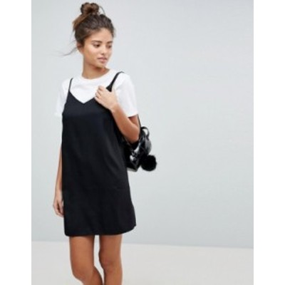 エイソス レディース ワンピース トップス ASOS DESIGN Fuller Bust mini cami slip dress Black