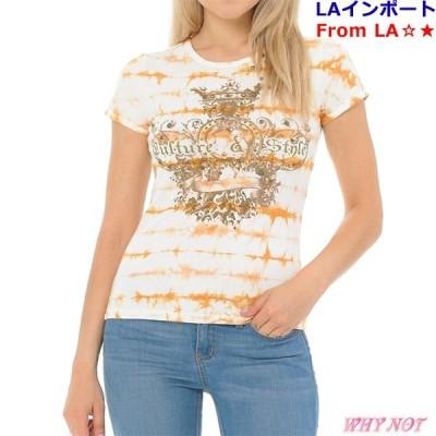 レディース Tシャツ 半袖 丸首 ラインストーン タイダイプリント VirginOnly S.M.L オレンジ LAインポート FROM USA #VO200121LA001