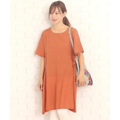 【アミュレット】 シックボーダーワンピース韓国ファッションレディース上品シンプル大人通気性 レディース オレンジ XL Amulet