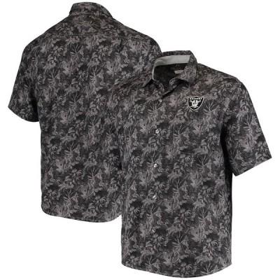 """トミーバハマ メンズ カジュアルシャツ """"Las Vegas Raiders"""" Tommy Bahama Sport Jungle Shade Camp Button-Down Shirt - Black"""
