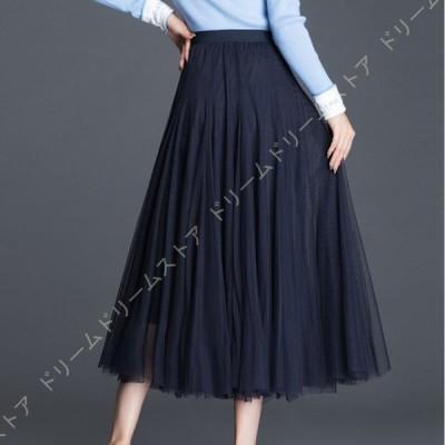 ロングスカート 春 スカート ロング チュール マキシスカート 黒 フォーマル フレア プリーツスカート 着痩せ 体型カバー ウエストゴム サテン おしゃれ