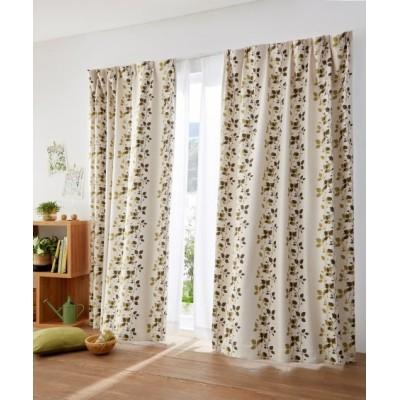 【送料無料!】ナチュラルリーフ柄遮光カーテン ドレープカーテン(遮光あり・なし) Curtains, blackout curtains, thermal curtains, Drape(ニッセン、nissen)