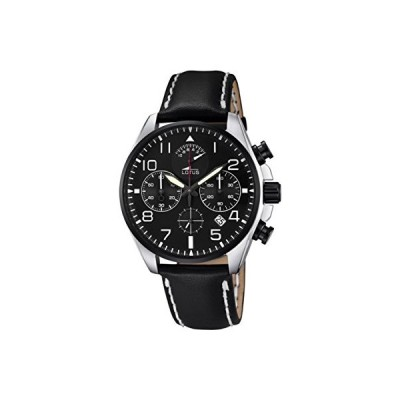 Lotus Men's Quartz Watch with Black Dial Chronograph Display and Black Leather Strap 10127/2 並行輸入品