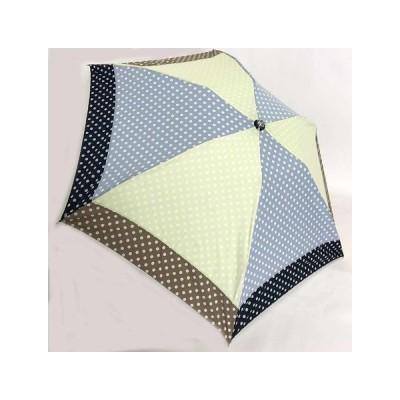 晴雨兼用傘UVケアパラソル 折りたたみ傘綿プリント水玉切継ぎコンビ