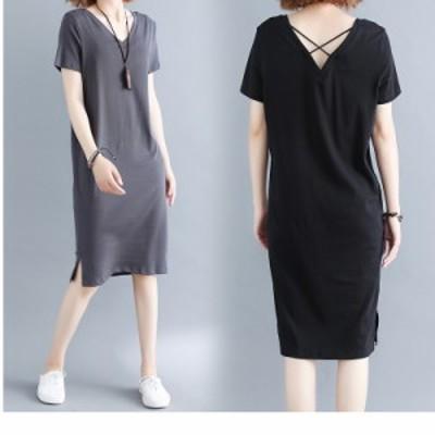 大きいサイズ サマーワンピース ワンピース ドレス ひざ丈 半袖 セクシー レディース ファッション 大きいサイズ 夏 韓国 Vネック Tシャ