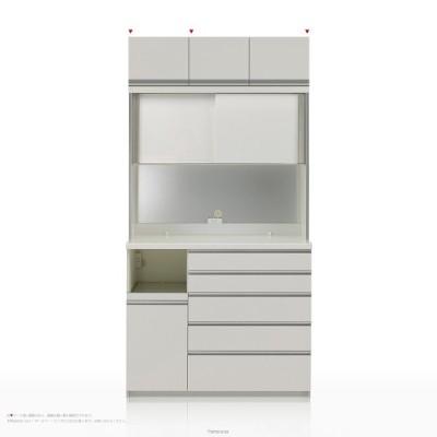 上棚付き食器棚 キッチンボード パモウナ KGシリーズ KGL-S1200R ハイカウンター [引き戸(スライド式扉)] (幅120cm, 奥行き45cm, 左側家電収納, パールホワイト)
