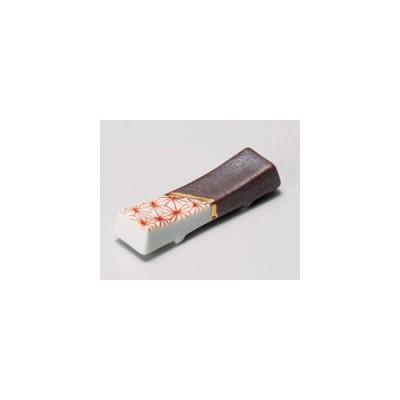 和食器伊賀切板ヌリ分麻ノ葉箸置き/大きさ・6.1cm