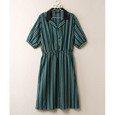 【大きいサイズ】 開襟ストライプワンピース 薄手素材 ワンピース, plus size dress