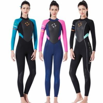 レディースウエットスーツ サーフィン 3mm 女性用 ダイビング ロングスリーブ 連体長袖 3カラーqsf24