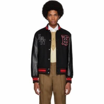 バーバリー Burberry メンズ レザージャケット ミリタリージャケット アウター black wool and leather padfield bomber jacket Black