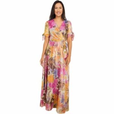 タハリ Tahari by ASL レディース パーティードレス ワンピース・ドレス Shimmer Georgette Printed Gown Wild Aster Garden